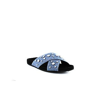 Rebecca Minkoff | Theo Jeweled Denim Slide Sandals
