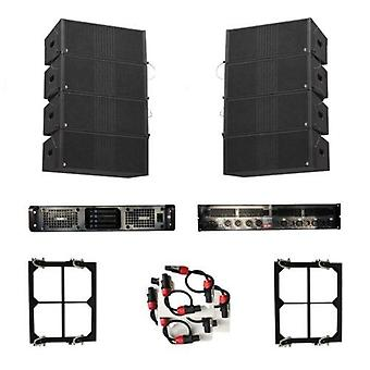 Line array 8 x dual 8 passive line array including flight cases + zenith 10k4 channel amplifier