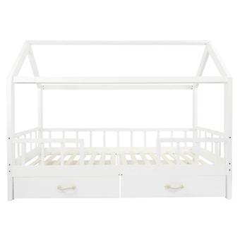 Puckdaddy Hausbett Carlotta 200x90 cm Kinder Bett aus Holz in Weiß abnehmbarer Rausfallschutz