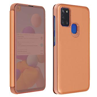 Back cover for Samsung A21s Translucent flap Mirror with Video support Rose Gold