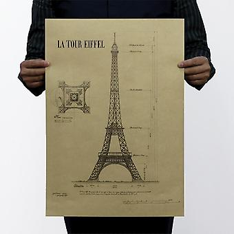 Paris Eiffel Tower Structure, Vintage Kraft Paper, Classic Movie Poster Map,