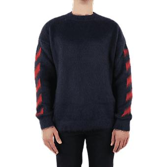 OFF WHITE Diag Brushed Mohair Crewenck Grey OMHA036E20KNI001725 Top
