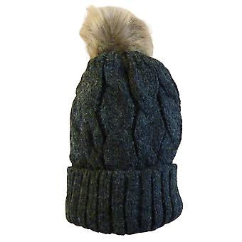 Plain Faux Fur Cable Twist Bobble Beanie Hat | Charcoal