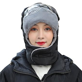 YANGFAN Winter Transparent Glasses Anti-Fog Outdoor Sports Bike Warm Hat