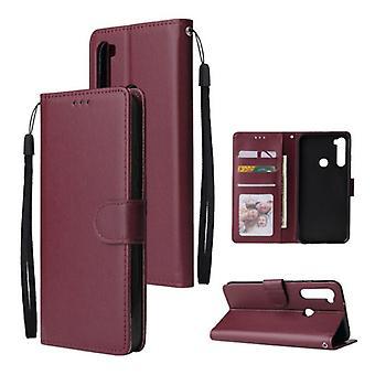 الاشياء المعتمدة® Xiaomi Redmi ملاحظة 8 الموالية الوجه محفظة حالة الجلود - PU محفظة جلدية غطاء غطاء حالة بوردو