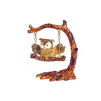 Owl Swinging On A Tree Branch-trinket Box