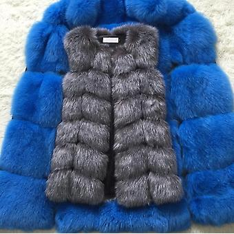 Faux Fox Fur Vest Kvinner Vinter Mote Medium Lang Varm Falske Frakker Kvinne