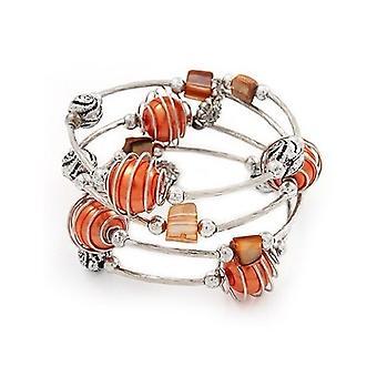 Silver Tone Beaded Multistrand Flex Bracelet - Orange