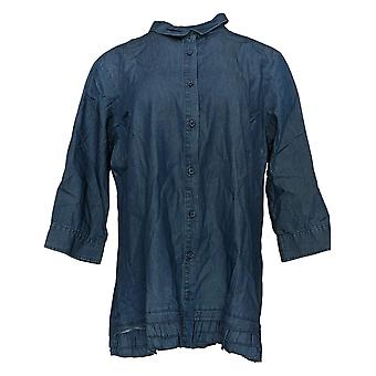 Joan Rivers Classics Collection Kvinder's Top Denim Shirt Blå A301805