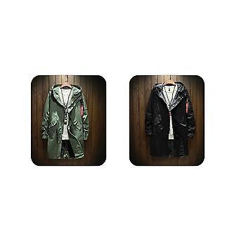ロングトレンチジャケット、メンコットン、秋、春、ブラックヒップホップコート、ストリートウェア