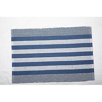 Dii Français Blue Cabana Stripe Tapis de fils recyclés