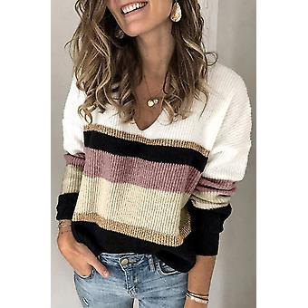 Color-block Striped Long Sleeve V Neck Sweater