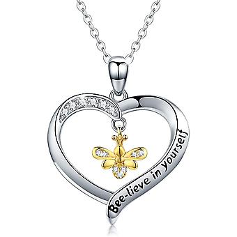 Sterling Silver Bee Necklace, Bee Gifts for Women Gold Bee Heart Jewellery
