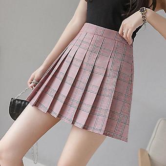 נשים קצר קפלים משובץ קוריאני רזה מתאים גבוה מותניים בסגנון חצאיות
