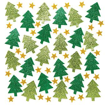 Baker ross ar713 glitter tree, christmas stickers for arts and crafts (pack of 100), assorted