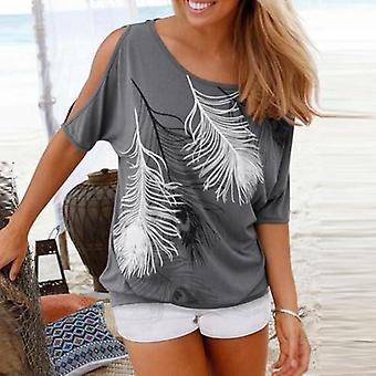 Kvinders Cut Skulder Casual T shirt med fjer Print