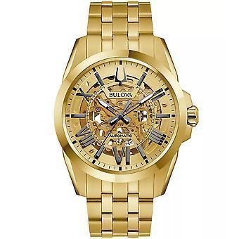 Bulova Sutton Squelette automatique Gold-Tone Mens Watch 97A162