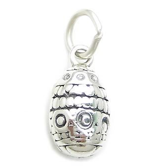 Easter Egg Sterling Silver Charm .925 X 1 Eastr Easta Eggs Charms - 3433