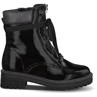 DA Stiefel Schwarz Patent WL Spitzenstiefel