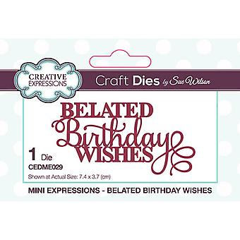 Creative Expressions Mini Sentiments Collection Cutting Dies - Late verjaardagswensen