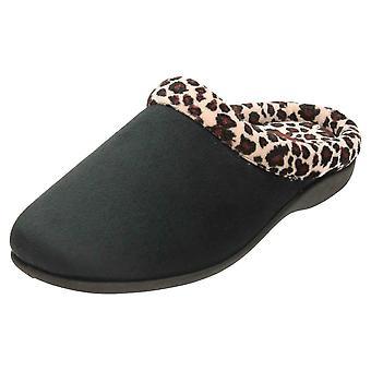 JWF Memory Foam Slippers Mules Clogs Black