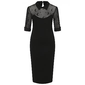 Collectif Clothing Wednesday Moon Flock Mesh Pencil Dress