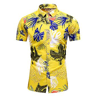 Yunyun Men's Botanical Print Pointed Collar Short Sleeve Vogue Button Shirt