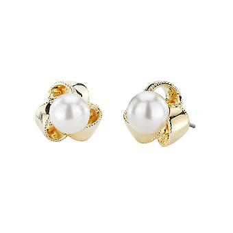Traveller Pierced Earrings - 8mm White pearls - 22ct gold plated - 114209