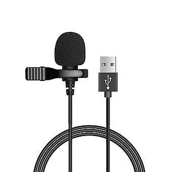 المحمولة USB ميكروفون صغير 1.5m lapel lavalier ميكروفون كليب على الميكروفونات الخارجية ثقب زر دردشة الكمبيوتر المحمول تسجيل