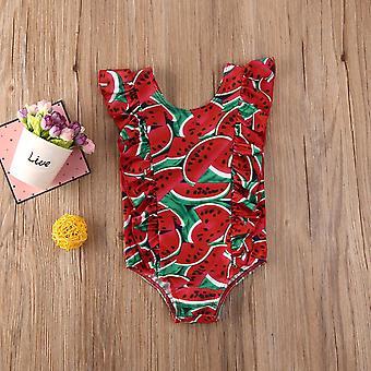 Baby Kid Fashion Fruit Print Ärmellose Rüschen einteilige Badeanzüge