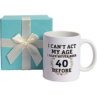 40th Birthday Gifts for Women, Flowers Crown Ceramic Mugs Turning 40 Years Old Gift Set Tea Coffee