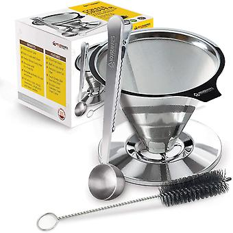 Housewares Solutions Stainless Steel Pour Over Coffee Dripper + Bonus Coffee Scoop With Built In Bag