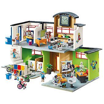 مسرح الحياة مدينة Playmobil مبنى مدرسة مفروشة مع ساعة رقمية