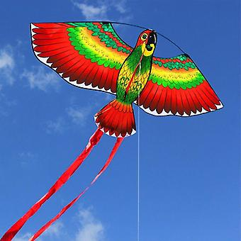 Red, Blue, Green Parrots Kite With Single Line Breeze Kite Flying Outdoor -