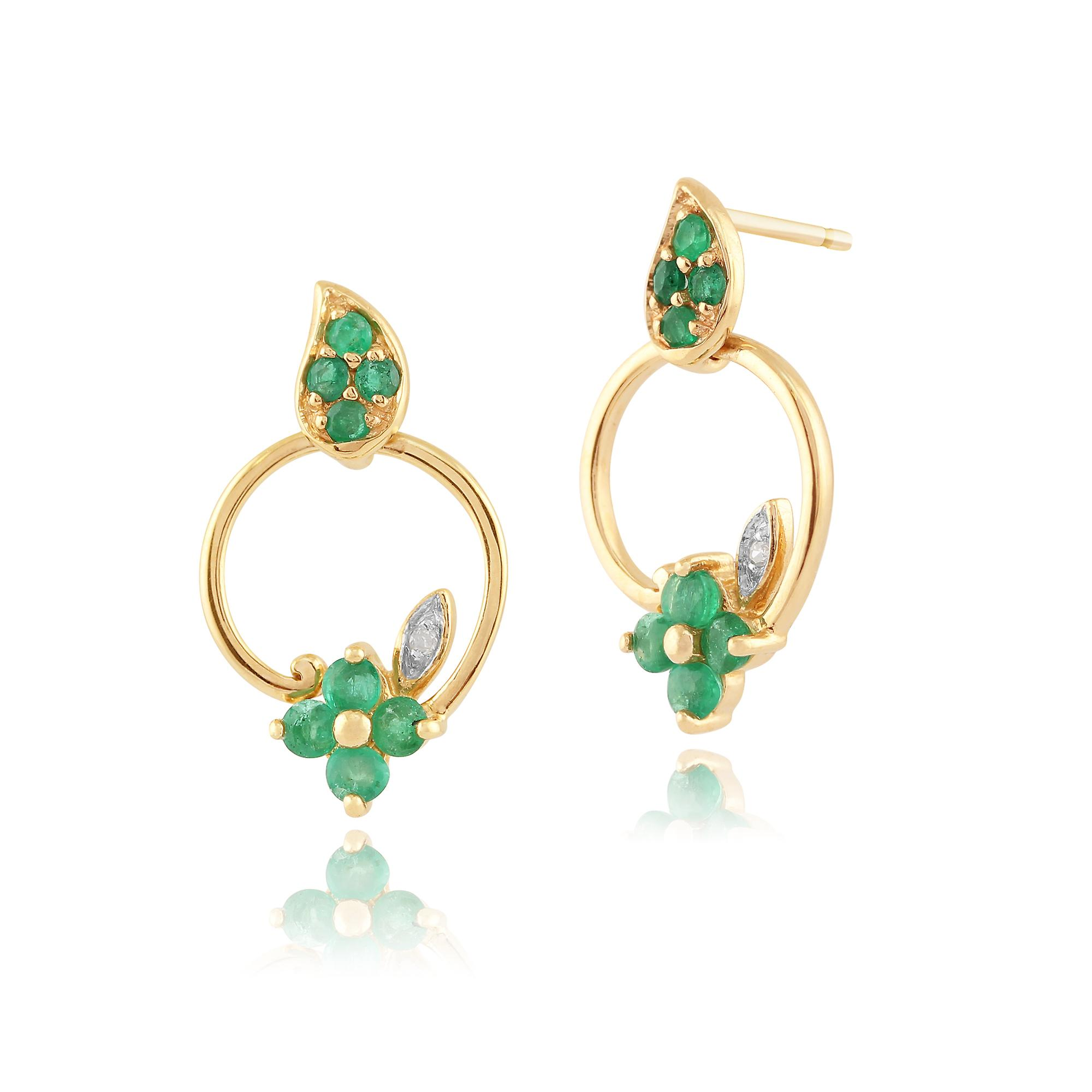 9ct Yellow Gold 0.48ct Natural Emerald & Diamond Floral Drop Earrings
