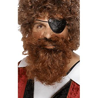 Mens Brown Pirate Wig og skjegg Fancy Dress drakt tilbehør