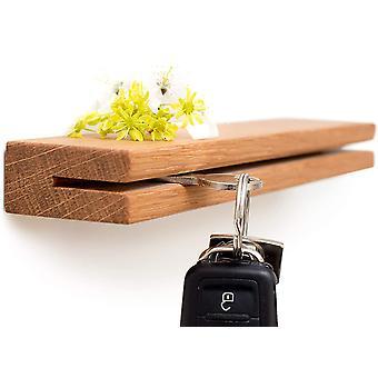 HanFei Schlsselbrett Holz, Schlsselboard aus Eiche, Schlsselleiste mit Ablage, Schlsselhalter Wand