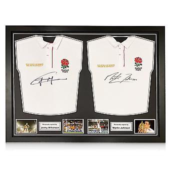 Jonny Wilkinson y Martin Johnson firmaron camisetas de rugby de Inglaterra. Marco dual