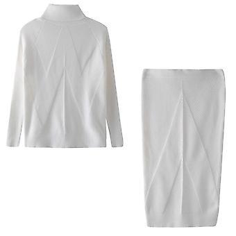 Traje de suéter de cuello alto de punto para mujer + falda delgada