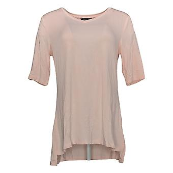 H by Halston Women's Top Essentials V-Neck Elbow Sleeve Pink A311527