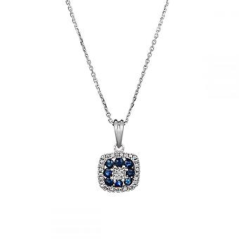 Anhänger Gold 'VOLGA' Diamanten 0,03 Karat und Saphir 0,58 Karat + Silberkette