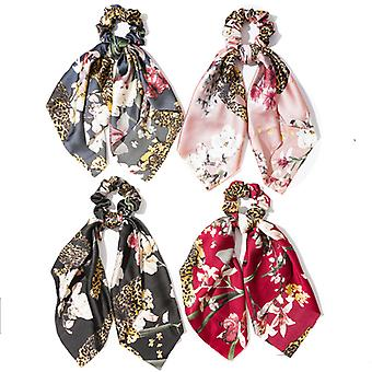 4pcs Floral Leopard Hair Tie Scarf Ponytail Holders For Women Girl