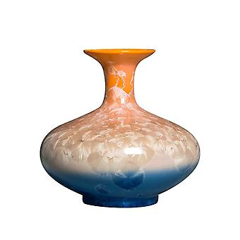 Big belly size jingdezhen modern style colorful flambed glazed porcelain ceramic vases for home decor