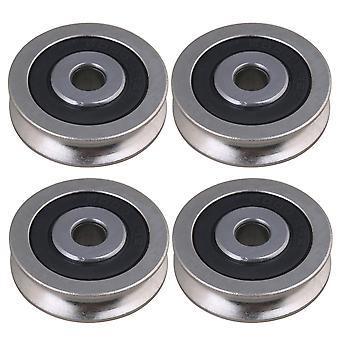 4 x Roulement acier U Type Groove Guide Poulie passive 6x30x8mm Outils de porte