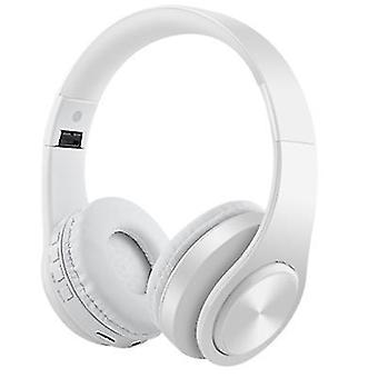 Wireless Bluetooth Headphones Noise Cancelling Over-Ear HD Stereo Foldable Earphones(White)