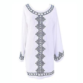 Embroidery Beachwear Kaftan Suncreen Polyester Bikini Cover Up