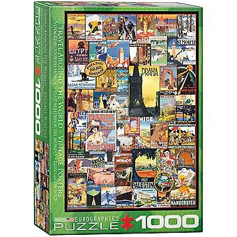 Eurographics Travel Around The World Vintage Posters Jigsaw Puzzle (1000 Pieces)