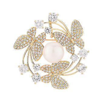 Highend Corsage Schmetterling Kreis Frauen Brosche Zirkon eingelegt Kupfer Brosche Pin