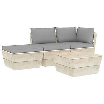 vidaXL 4-tlg. Jardin canapé-lit en palettes avec oreillers épicéa