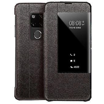 Caja de cuero Huawei P30 Flip - marrón